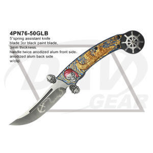 "5"" Closed Folding Fantasy Knife with Twice Anodized (gold&blue) pictures & photos"