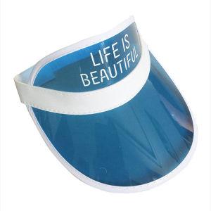 Custom Blue PVC Sun Visor Hat with Elastic Back pictures & photos