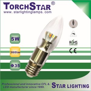 Pure White Aluminum 3W E14 LED Candle Bulb with Transparent Cover pictures & photos