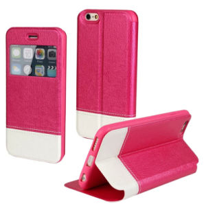 Cell Phone Case for iPhone 6 with 2 Colors Contrast, Filp Stand Mobile Phone Case Wholesale