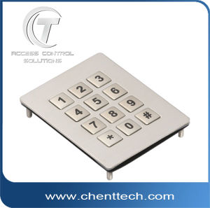 IP68 Waterproof Stainless Steel 3*4 Keypad with 12 Flat Keys