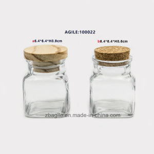 Wood and Cork Lid Glass Spice Storage Jar (100022) pictures & photos
