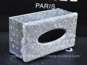 Handmade Crystal Rhinestone Diamond Paper Towel Holder Napkins Case Tissue Box (TB-008) pictures & photos