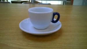 Porcelain Coffee Cup with Blue Handle Espresso Cup
