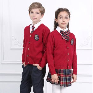 Factory Plaid Mini Skirt and Sweater School Uniform pictures & photos