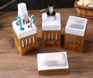 Natural Bamboo Bathroom Ceramic Accessories Set pictures & photos