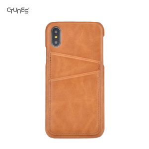 PU Leather Ultra Slim Professional Executive Snap on Back Cover Case with 2 ID Credit Card Slots Holder for iPhone X pictures & photos