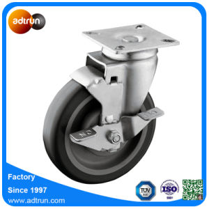 5-Inch PU Wheel Swivel Plate Casters with Top Lock Brake pictures & photos