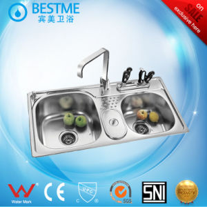 High Quality Double Kitchen Sink Best Quality in China (BS-950-201P) pictures & photos
