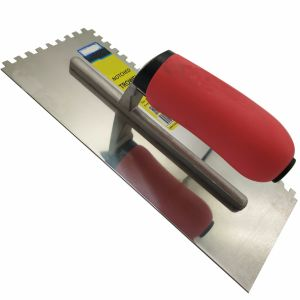 "Square Tooth Stainless Steel Trowel 6*6 Square Notched 11"" with Soft Red Handle FT56 pictures & photos"