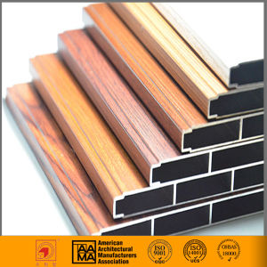China Wood-Grain Transfer Aluminum Window Profiles pictures & photos