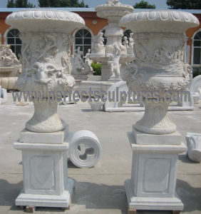 Garden Stone Flower Vase with Marble Vase (QFP328) pictures & photos