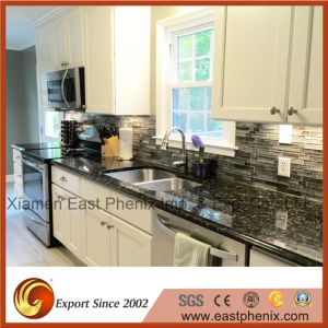 Elegant Black Polished Kitchen Worktops Granite Countertops pictures & photos