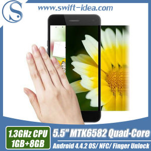 Android 4.4.2 Built in Nfc / Fingerprint Unlock / Gesture Sensor Mt6582 Quad Core 5.5 Inch Smart Mobile Phone (T1)