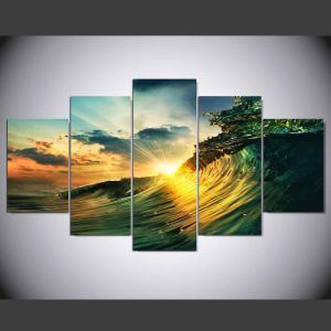 Waves Sunset Seaview Picture Painting on Canvas for Wall Art Home Decoration Living Room Canvas Print Painting Mc-159 pictures & photos