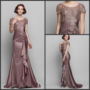 Sheath Formal Gown Lace Satin Evening Dress W1471917 pictures & photos