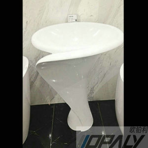 Artificial Stone Pedestal Wash Basin/Freestanding Pedestal Sink  (OD 110S_1_1)