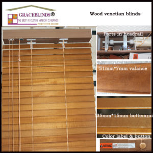 50mm Basswood Slats High Profile Metal Head Rail Window Blinds pictures & photos
