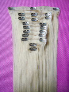 Full Head Luxury Clip in Hair Extensions 140g 180g 220g 260g Lightest Blonde White Clip in Hair Extension pictures & photos