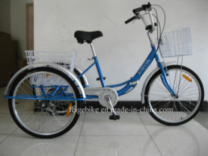 "Good Quality 24"" Mobility Folding Tricycle with Shimano 6speed  (FP-TRCY046) pictures & photos"
