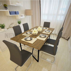 Modern Metal Table Legs Wood Dining Table Set (NK-DTB092) pictures & photos