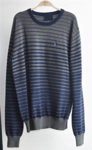 90%Cotton10%Cashmere Round Neck Striped Pullover Men Sweater pictures & photos