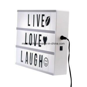 A4 USB Lightbox with Alphabet Letters Attached Back Inside Black Shell Cinematic Light Box pictures & photos