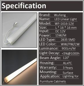 12V/24V Linear LED Diode Lighting Bar Lamp Tube for Under Counter Cabinet pictures & photos