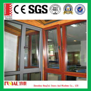 Wooden Color Aluminum Frame Tempered Safety Glass Casement Window pictures & photos