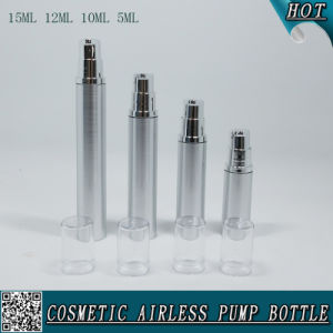 5ml 10ml 12ml 15ml Cosmetic Silver Airless Lotion Bottle with Silver Pump pictures & photos