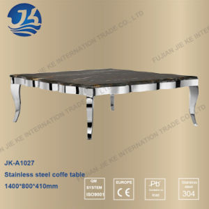 Chinese Design Square Shape Stainless Steel Dining Table with Marble Top pictures & photos