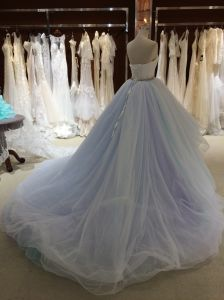 Princess Strapless Sleeveless Sky Blue Wedding Dress pictures & photos