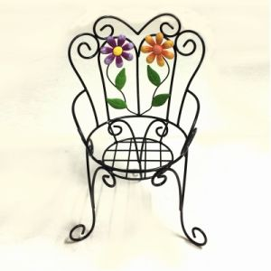 Decorative Chair Shaped Garden Decoration Linellae Metal Flowerpot Stand Craft pictures & photos