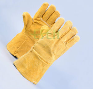 Double Palm Leather Gloves Welding Working Cow Split Gloves pictures & photos
