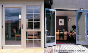 Insulated Blue Tinted Double Glass Smooth Sliding Aluminium Doors pictures & photos
