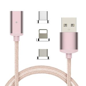 Nylon Braided 3 in 1 Magnetic Sync Data Transfer Charging USB Cable for Mobile Phone pictures & photos