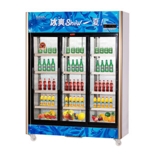 Upright Three Sliding Doors Beverage Refrigerator with LED Light pictures & photos