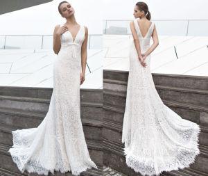 Bohemian V Back Soft Wedding Dress pictures & photos