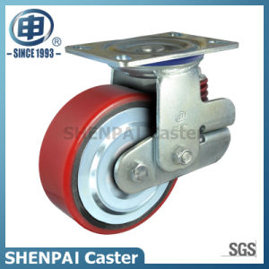 """8""""Iron Core PU Single Springs Swivel Locking Shockproof Caster pictures & photos"""