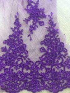 Embroidery Lace on Organza with Beads & Sequins pictures & photos
