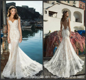 Cap Sleeves Wedding Dress Lace Mermaid Beach Bridal Gown A1625 pictures & photos