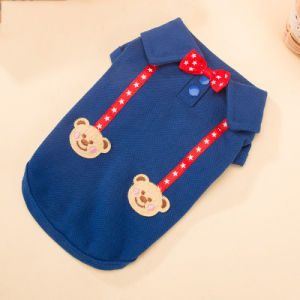 Classic Cute Bowtie Bear Dog Polo Shirt with Suspenders pictures & photos