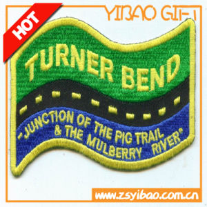 Custom 100% Woven Fabric Merrow Border Embroidered Patches with Club Logo (YB-e-030) pictures & photos