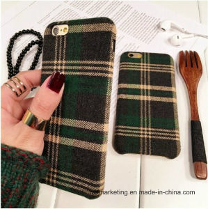 England Grid Fabric Cloth Mobile Cell Phone Case for iPhone pictures & photos