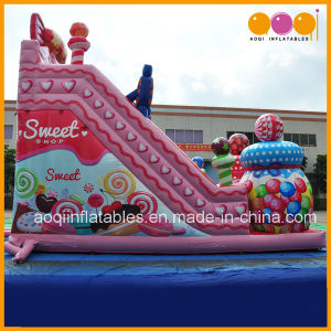 Guangzhou Cheap Factory Candy Commercial Inflatable Bouncer Slide for Child (AQ01756) pictures & photos