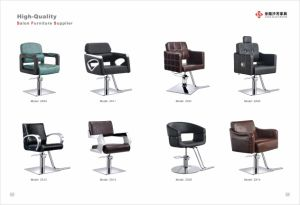 Modern Barber Chair with Various Color Leathers′ Armrest and Stainless Steel Footrest pictures & photos