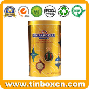 Round Tin Chocolate Can for Food Container, Chocolate Tin Box pictures & photos