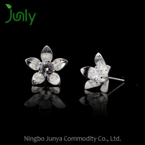 Wholesale Zircon Silver Stud Earrings Bridesmaid Flower Earrings