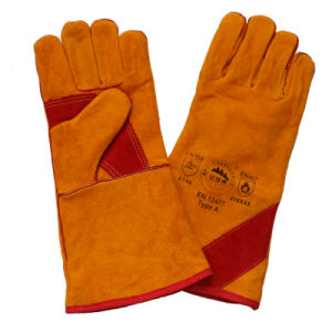 Boa Full Lining Cow Split Leather Winter Welding Gloves pictures & photos