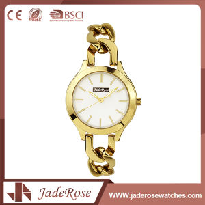 Waterproof Folding Clasp Gold Stainless Steel Quartz Watch pictures & photos